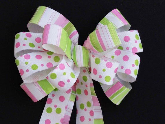 Polka Dots Stripes Baby Girls Shower Party Decor Lime Pink 1st Birthday Girls Party Decoration Bow Handmade Pink Green Shower Gift wrap Bow