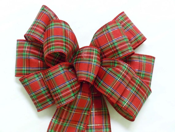 Tartan Woodland Christmas Bow Traditional Red Green Christmas Plaid Bow  Country Wreath Bow Tartan Wedding Bow Christmas Plaid Bow