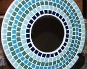 "Unique 10"" Ceramic tile mosaic plate with center mirror."