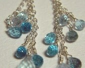 Blue topaz and aquamarine dangle earrings in sterling silver