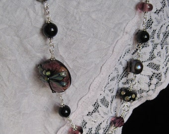 AMETHYST DRAGONFLY - Swarovski, pearl, onyx and lampwork wire wrapped necklace in sterling silver