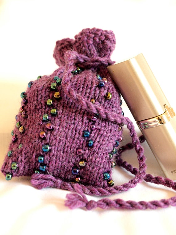 Beaded purple knit drawstring bag pouch coin pouch gift card bag cosmetic bag - small