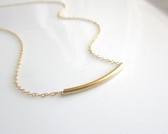 SALE - Gold Curved Bar Necklace - modern simplicity, pretty everyday jewelry, dainty everyday jewelry