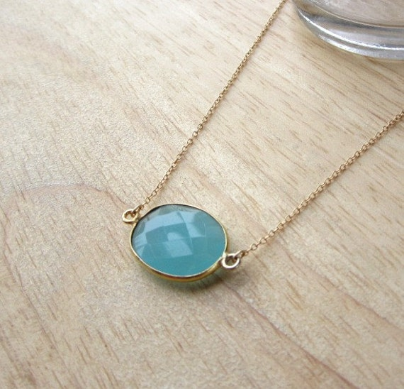 Peruvian Chalcedony Gold Necklace - simple everyday jewelry