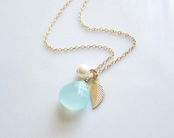 Peruvian Chalcedony, Fresh Water Pearl and Tiny Gold Leaf, dainty necklace, wedding, bride, bridesmaid jewelry