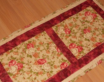 SALE Handmade quilted cottage chic look large table runner with ivory, pink shades of roses, and gold cluster flowers