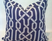 SALE - Hollywood Regency - Mid Century Modern Imperial Trellis Style Pillow Cover Blue & White