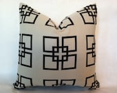SALE - Hollywood Regency - Mid Century Modern Style Geometric Squares Pillow Cover Black & Cream 18 x 18""