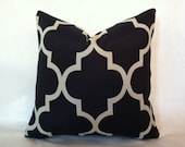 SALE - Hollywood Regency - Mid Century Modern Style Geometric Fretwork Pillow Cover Navy & Cream