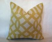 SALE - Hollywood Regency - Mid Century Modern Imperial Trellis Style Pillow Cover Citrine & Cream