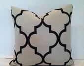 SALE - Hollywood Regency - Mid Century Modern Style Geometric Fretwork Pillow Cover Cream & Black