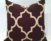 SALE - Hollywood Regency - Mid Century Modern Style Geometric Fretwork Pillow Cover Chocolate and Cream