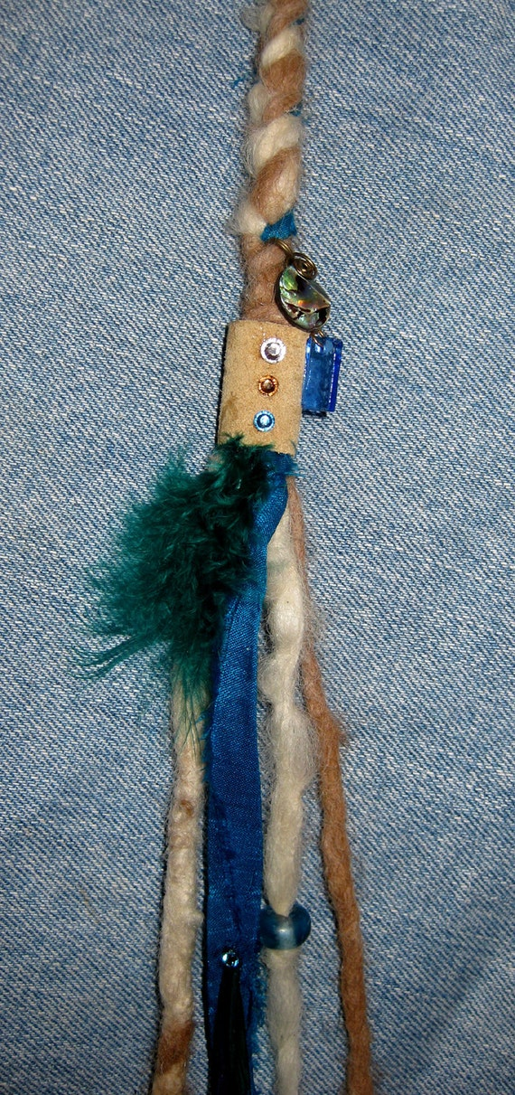Sale: AT THE BEACH Hair Clip Extension and Decorative Fashion Tassel, Beautiful Blue Glass & Abalone Beads