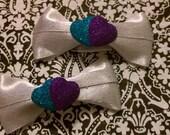 Silver Ribbon Heart Hair Bows