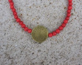 Southwest Burning Sun - Red Turquoise and Antique Gold Focal Bead Necklace