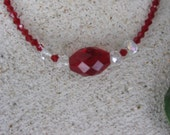 Deep Red Crystal Bead Necklace