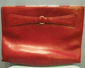 Vintage Burgundy Leather Clutch Bag
