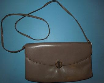 Vintage Women's Purse Handbag Grey Leather
