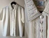 Vintage Embroidered Collar Sheer Blouse BEADED with