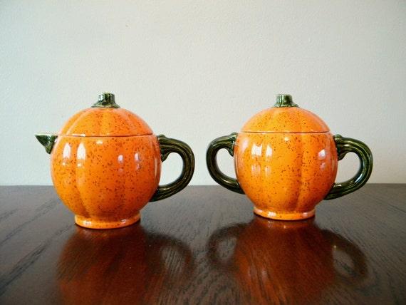 Vintage SIGNED Pumpkin Cream & Sugar Set