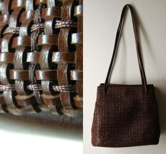 Vintage Woven Leather Tote/Shoulder Bag