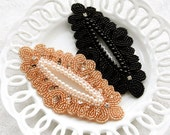elegant pearl beads cubic design applique (apricot,black)