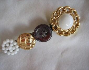 Cute Browns, Gold, White Buttons hair barrette-- Handmade -- Ready to Ship A013