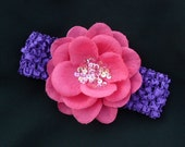 Purple Headband with Bright Pink Sequin Flower- One of a kind.