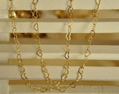3meter raw Brass  plating gold heart    chain