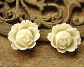 8pcs white rose  resin flower    Cabochons  pendant finding  RF027