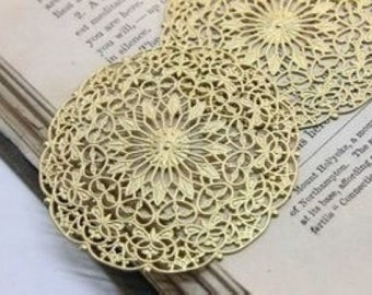 6 pcs raw Brass    flower Filigree cab base Connector Finding