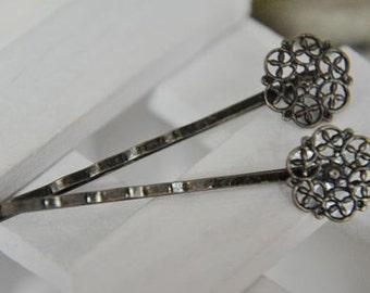 10 pcs raw Brass  plating antique bronze  flower Filigree hair pin  pendant finding