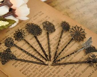 9 pcs raw Brass  plating antique bronze  flower Filigree hair pin  pendant finding