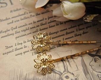 5 pcs raw Brass  plating gold   flower Filigree hair pin  pendant finding
