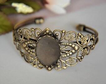 2 pcs raw Brass  plating  antique bronze    flower Filigree bracelet   pendant finding