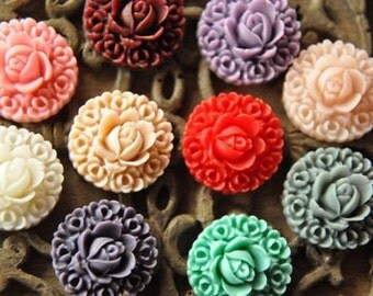 20pcs   resin flower cab    Cabochons  pendant finding  RF041