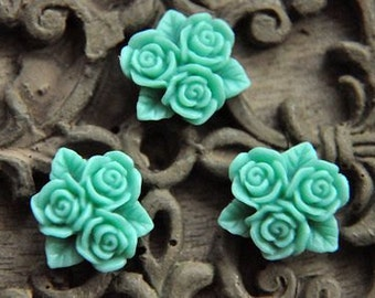 10pcs green resin flower cab  Cabochons  pendant finding  RF045