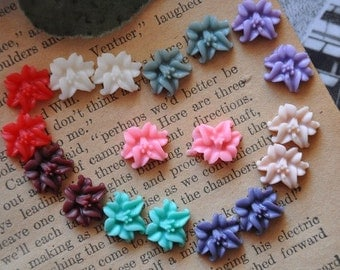 36pcs colorful  resin flower lily   Cabochons  pendant finding  RF052