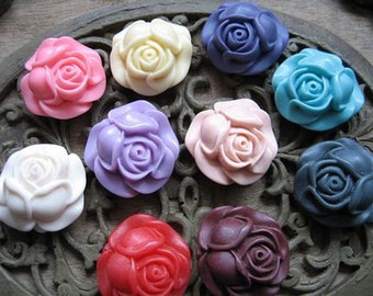 10pcs colorful  resin flower bud Cabochons  pendant finding  RF063