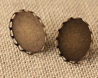10 pcs raw Brass plating antique bronze  earring cab  finding