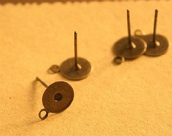 20 pcs raw Brass plating antique bronze  earring finding