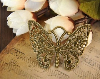 10 pcs antique bronze  plating butterfly    pendant finding