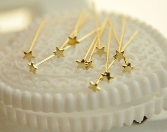 30 pcs raw brass  gold  star T  pin   pendant finding