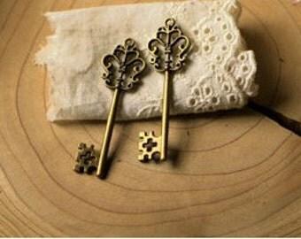 5 pcs  antique bronze  plating key  pendant finding