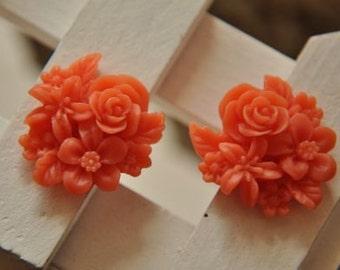 8 pcs   resin flower   Cabochons  pendant finding  RF068