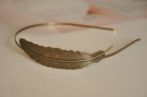 2 pcs raw Brass  plating antique bronze  hairband pendant finding