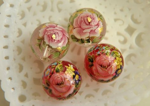 4pcs coloured drawing  bead finding charm