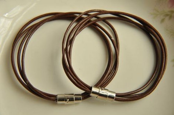 2 pcs  real leather bracelet pendant finding