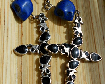 Cobalt Blue Skull and Cross Earrings