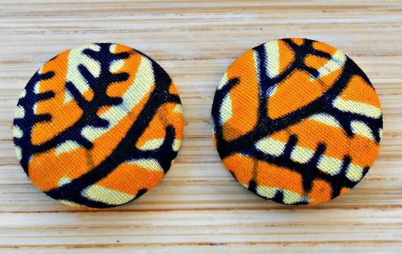 Yellow Vine Button Earrings